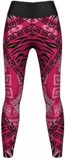 Aztec Leggings sehr dehnbar für Sport, Gymnastik, Training, Tanzen & Freizeit pink/schwarz
