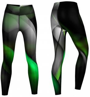 Glow Leggings sehr dehnbar für Sport, Gymnastik, Training, & Freizeit schwarz/grün - Vorschau 2