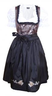 1-teiliges Midi-Dirndl Landhaus Kleid Dirndel ohne Bluse Schwarz/Braun