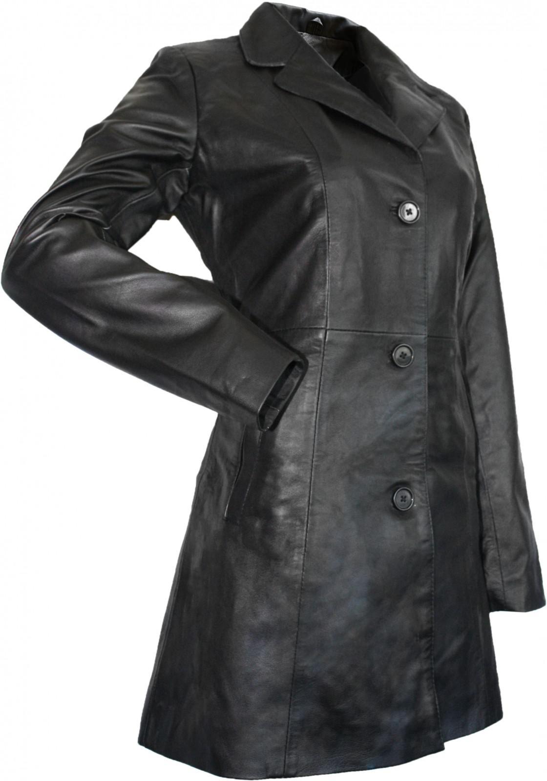 damen ledermantel trenchcoat echtleder mantel aus lammnappa leder schwarz kaufen bei german. Black Bedroom Furniture Sets. Home Design Ideas