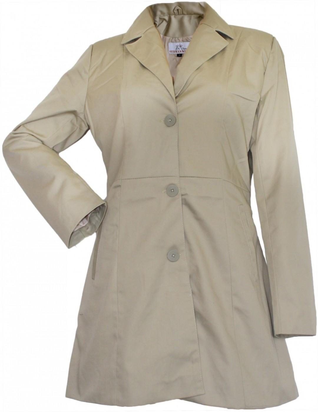 damen mantel trenchcoat aus baumwolle beige kaufen bei german wear gmbh. Black Bedroom Furniture Sets. Home Design Ideas
