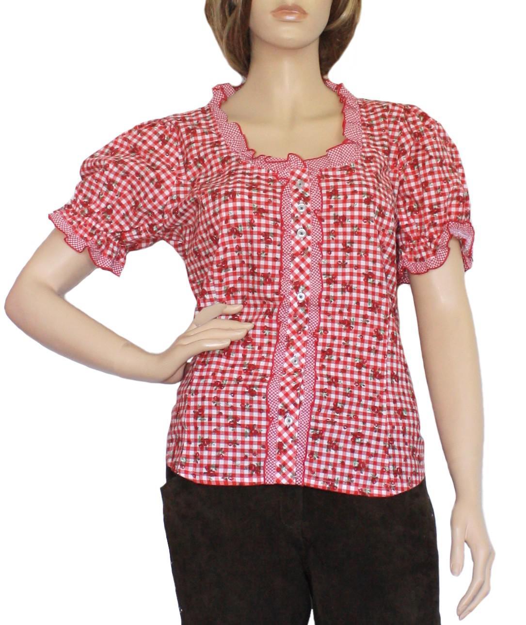 trachtenbluse damen trachten lederhosen bluse trachtenmode rot kariert kaufen bei german wear gmbh. Black Bedroom Furniture Sets. Home Design Ideas