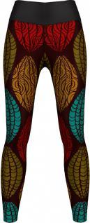 Aztec Leggings sehr dehnbar für Sport, Gymnastik, Training, Tanzen & Freizeit schwarz/rot/grün