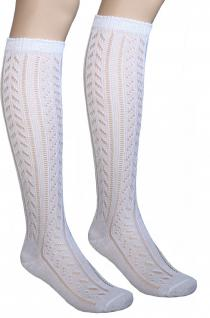 Damen Trachtenstrümpfe Trachtensocken kniestrümpfe Socken strümpfe mit Ajourmuster Weiß