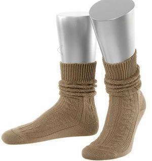Damen Trachtensocken Trachtenstrümpfe Zopf Socken Hellbraun Kurz