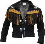 Westernjacke Reiter Jacke Western-Lederjacke Indianer Tracht Schwarz
