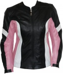 Damen Lederjacke Motorradjacke aus Rindsleder Kombijacke Schwarz/Pink