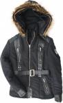 Damen Jacke aus Textilien mit Lammnappa Streifen Schwarz