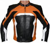 Lederjacke Motorradjacke Kombijacke in der Frabe Schwarz/Orange Weiss