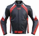 Lederjacke Motorradjacke Chopperjacke aus Rindsleder Kombijacke Schwarz/Rot Weiss