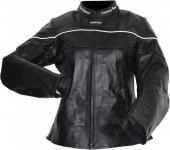 Damen Lederjacke Motorradjacke aus Rindsleder Touring Kombijacke Schwarz