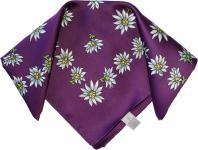 Halstuch Trachtentuch POLYESTER mit Edelweissmuster nikituch 50x50cm lila