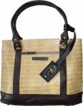 Damen Lederhandtasche Shopper Ledertasche Handtasche Tasche Tragetasche beige/braun