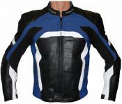 Lederjacke Motorradjacke aus Rindsleder Kombijacke Schwarz/Blau Weiss