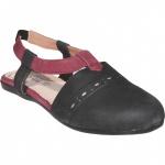 Geschlossene Sandale aus echtem Leder lederschuhe Trendschuhe Schwarz/Weinrot