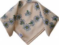 Halstuch Trachtentuch POLYESTER mit Edelweissmuster nikituch 50x50cm beige
