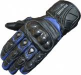 Motorradhandschuhe Motorrad Biker Lederhandschuhe Blau/Schwarz
