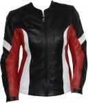 Damen Lederjacke Motorradjacke aus Rindsleder Kombijacke Schwarz/Rot