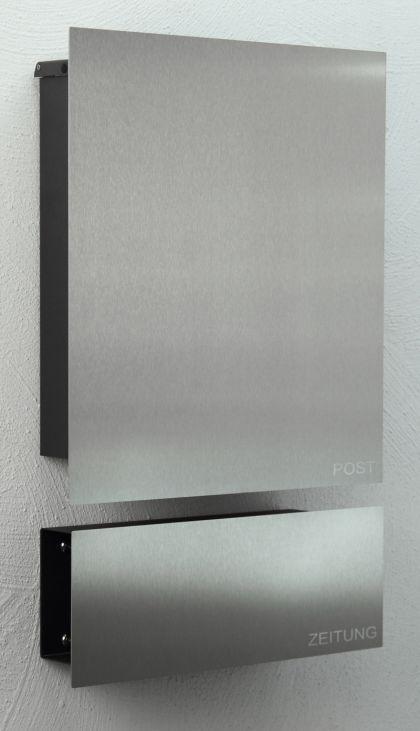 briefkasten edelstahl zeitungsbox kaufen bei ines bunk und susan richter gbr. Black Bedroom Furniture Sets. Home Design Ideas