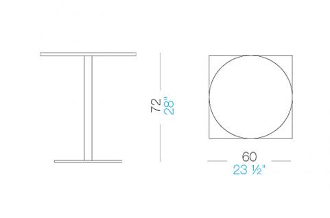 Lapalma Brio Bistrotisch Fix rund (H: 72cm)