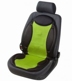 Massage Sitzheizkissen schwarz grün mit Memory Foam. 5 Massagestufen, Heizfunktion auf Rückenlehne