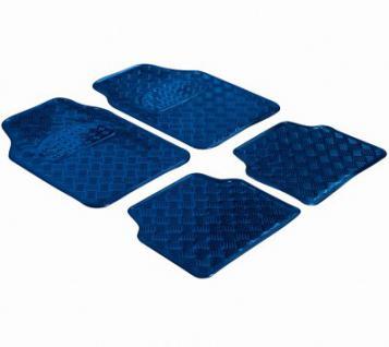 4 Stück Universal Auto Gummimatten Metallic Riffelbleck Look blau