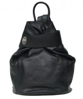 Eastline Damen Leder Rucksack schwarz, auch als Tasche nutzbar