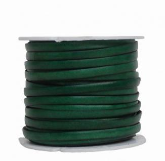 Ziegenleder Lederriemen, Lederband flach grün, Kanten schwarz gefärbt, Länge 25 m, Breite ca. 5 mm, Stärke ca. 1, 0 mm