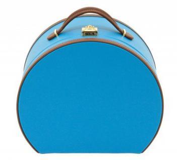 Friedrich Lederwaren Kunstleder Schmuck- + Make-Up-Koffer hellblau/braun, viele Fächer, Spiegel, Serie Ascot, ca. 26x14x22, 5 cm