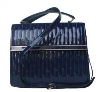 Jessica Collection elegante Damentasche blau, Lacksysnthetik