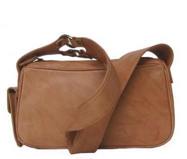 geräumige Damen Leder Handtasche camel, 2 separate Hauptfächer, ca. 28x15 cm