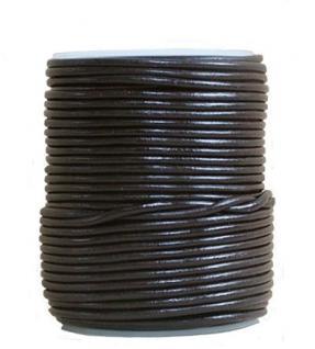 endlos Ziegenleder Rundlederriemen Rolle dunkelbraun, für Lederschmuck, Lederarmbänder, Länge 100 m, Ø 0, 5 mm