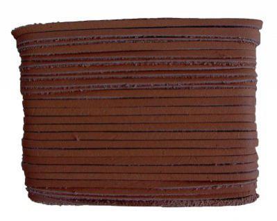 weiches Leder Flechtband Ziegenleder auf Karte mittelbraun, Länge 10 m, Breite ca. 2, 5 mm, Stärke ca. 1, 0 mm