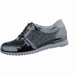 Waldläufer Hurly 15 sportliche Damen Leder Sneakers schwarz, Weite H, für lose Einlagen, Leder Fußbett, 1337118
