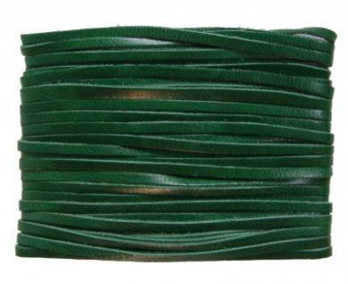 weiches Leder Flechtband Ziegenleder auf Karte dunkelgrün, Länge 10 m, Breite ca. 2, 5 mm, Stärke ca. 1, 0 mm