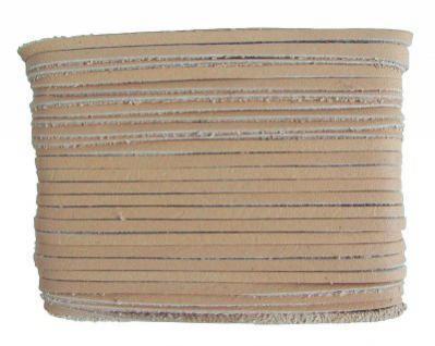 weiches Leder Flechtband Ziegenleder auf Karte beige, Länge 10 m, Breite ca. 2, 5 mm, Stärke ca. 1, 0 mm