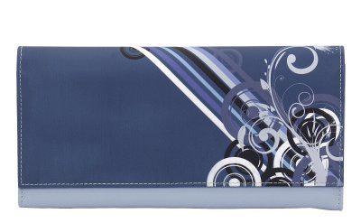 Friedrich Lederwaren Kunstleder Schmuckrolle blau/bunt, viele Fächer, Ringleiste, Serie Diagona, ca. 24x13x3 cm
