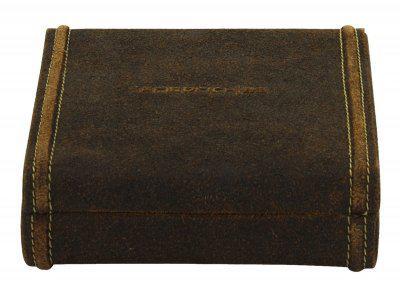 Friedrich Lederwaren Antikleder Manschettenknopfetui braun, 9 Fächer, Serie Cubano, ca. 14, 5x16, 5x4, 5 cm