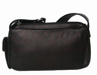 kleine elegante Damen Leder Handtasche schwarz, 2 separate Fächer, ca. 28x15 cm - Vorschau 2