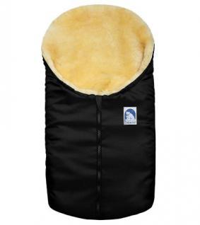 kleiner Baby Lammfell Winter Fußsack schwarz waschbar, für Tragschalen, Kinderwagen, Autositze, ca. 78x40 cm