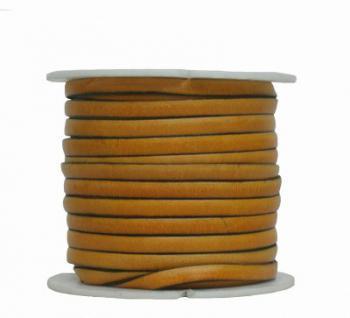 Ziegenleder Lederriemen, Lederband flach gelb, Kanten schwarz gefärbt, Länge 25 m, Breite ca. 5 mm, Stärke ca. 1, 0 mm