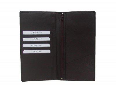 extra große Leder Brieftasche braun, 12 cm breit, 22 cm hoch, 4 x CC, 4 Einsteckfächer, RV-Innenfach