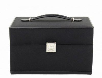 Friedrich Lederwaren eleganter Microfaser Schmuckkasten schwarz, viele Fächer, Serie Copenhagen, ca. 24x16x15, 5 cm