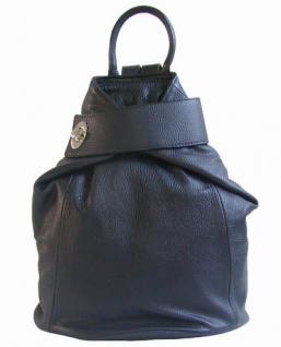 Eastline Damen Leder Rucksack blau, auch als Tasche nutzbar