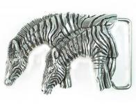 Gürtelschließe Zebras silber, 7 cm lang, 5 cm hoch