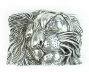 Gürtelschließe Löwenkopf silber, 7 cm lang, 5 cm hoch