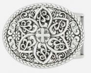 Gürtelschließe Blume und Kreuz silber, 8, 5 cm lang, 7 cm hoch