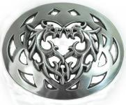 Gürtelschließe Kiss Dragon silber, 8, 5 cm lang, 7 cm hoch