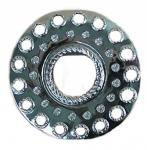 große Gürtelschließe silber rund, mit Strass, Ø 7 cm