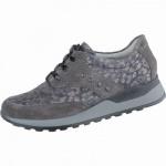 Waldläufer Hiroko 20 sportliche Damen Leder Sneakers asphalt, Weite H, für lose Einlagen, Leder Fußbett, 1337115